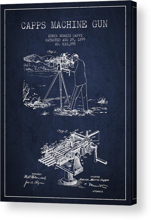Machine Gun Acrylic Print featuring the digital art Capps Machine Gun Patent Drawing From 1899 - Navy Blue by Aged Pixel