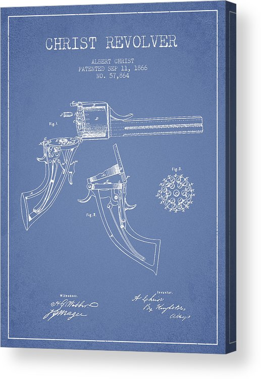 Pistol Patent Acrylic Print featuring the digital art Christ Revolver Patent Drawing From 1866 - Light Blue by Aged Pixel