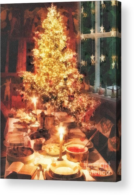 Christmas Eve Acrylic Print featuring the painting Christmas Eve by Mo T