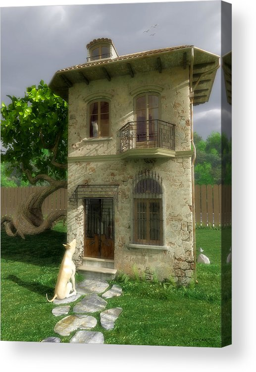 Dog Acrylic Print featuring the digital art Come Out And Play by Cynthia Decker