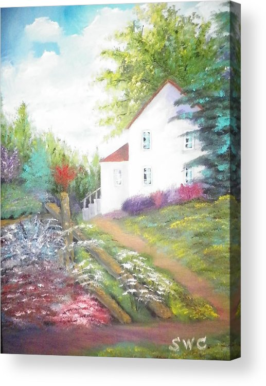 Oil Painting Acrylic Print featuring the painting Cottage Gardens by Steven Clayton