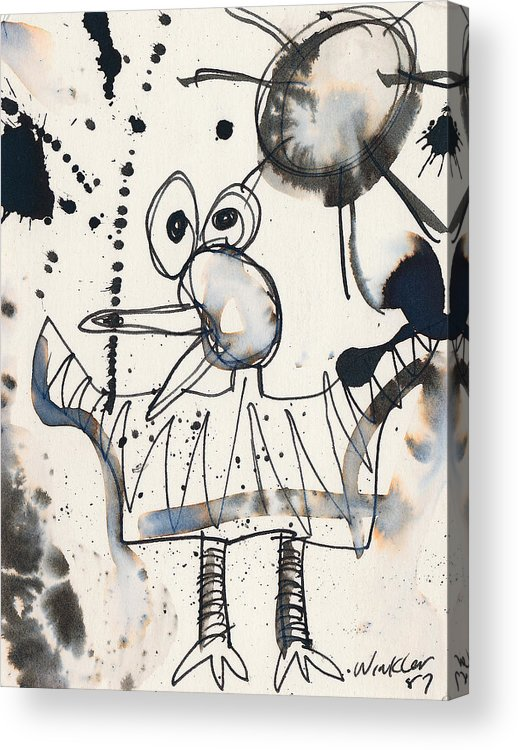 Bird Acrylic Print featuring the painting Crazy Bird by Christopher Winkler
