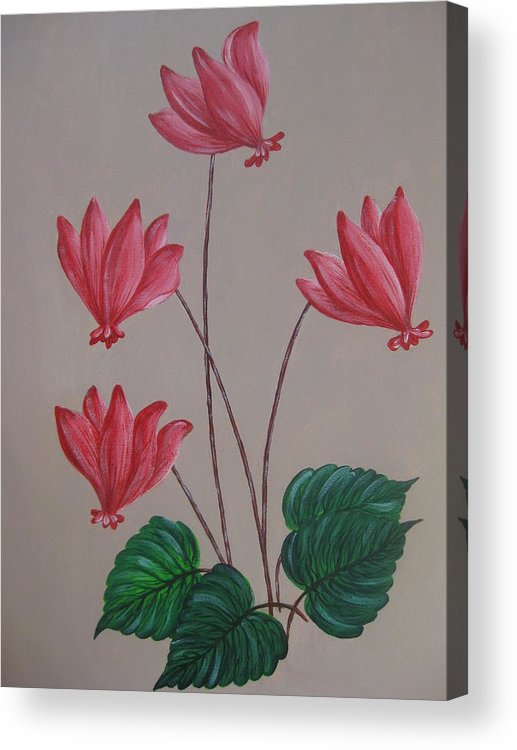 Floral Acrylic Print featuring the painting Cyclamen by Swathi Kurunji