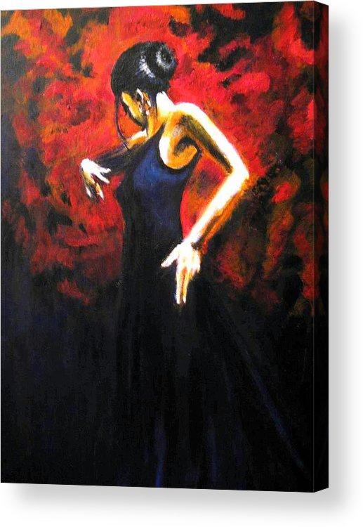 Dancer Acrylic Print featuring the painting Dancer Flamenco by Lyuben Angelov