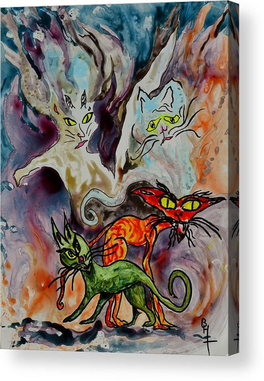 Yupo Acrylic Print featuring the painting Demon Cats Haunted by Beverley Harper Tinsley