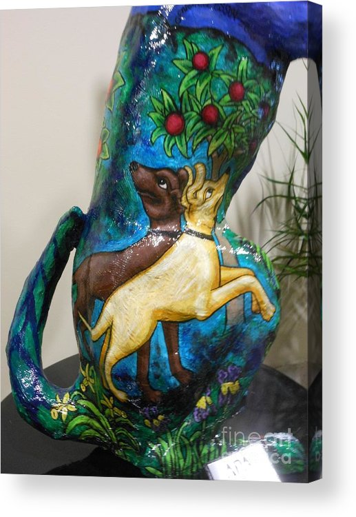 Dog Acrylic Print featuring the painting Detail Of Hunt For The Unicorn On A Full Moon by Genevieve Esson