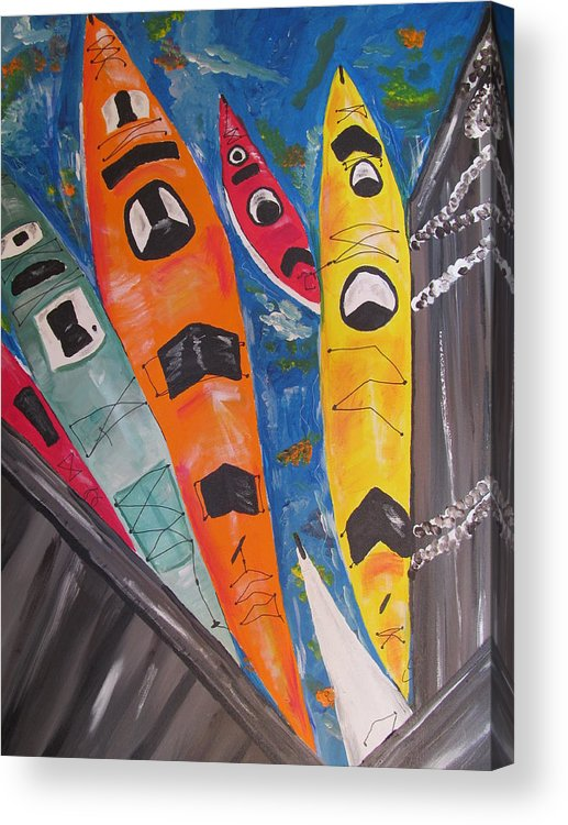 Kayaks Acrylic Print featuring the painting Dock Side by Susan Voidets