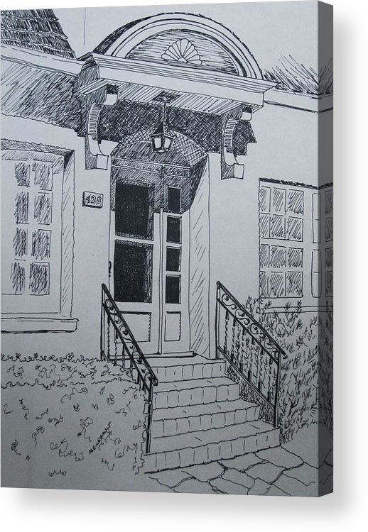 Pen And Ink Acrylic Print featuring the drawing Doorway by Mary Ellen Mueller Legault