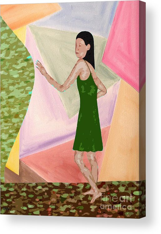 Figurative Acrylic Print featuring the painting Drawing Back The Veil by Patrick J Murphy