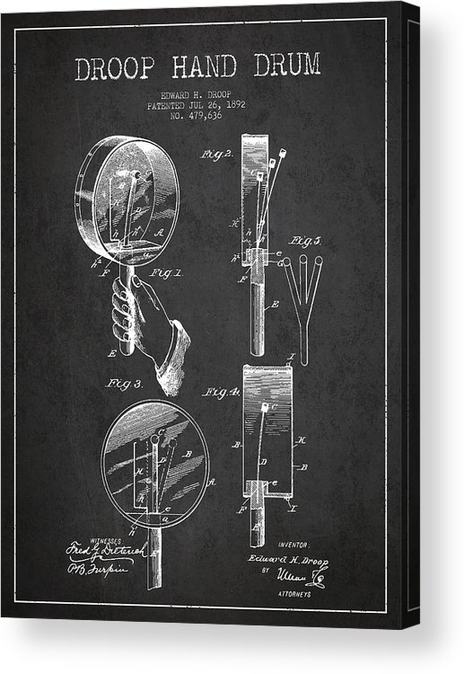 Hand Drum Acrylic Print featuring the digital art Droop Hand Drum Patent Drawing From 1892 - Dark by Aged Pixel