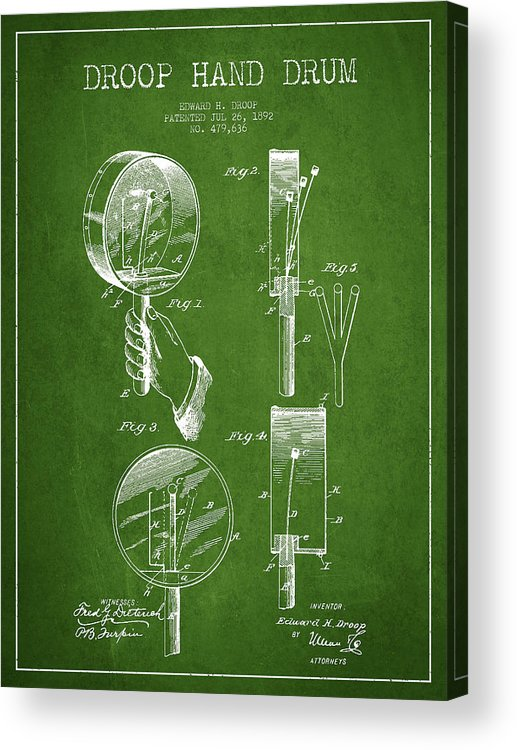 Hand Drum Acrylic Print featuring the digital art Droop Hand Drum Patent Drawing From 1892 - Green by Aged Pixel