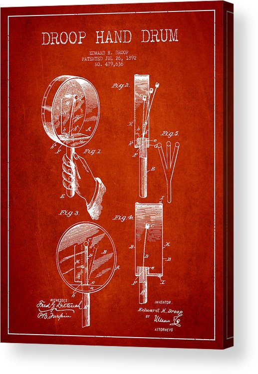 Hand Drum Acrylic Print featuring the digital art Droop Hand Drum Patent Drawing From 1892 - Red by Aged Pixel