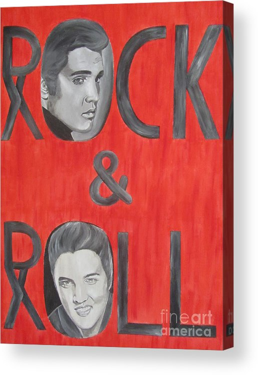 Elvis Presley Portrait Acrylic Print featuring the painting Elvis Presley King Of Rock And Roll by Jeepee Aero