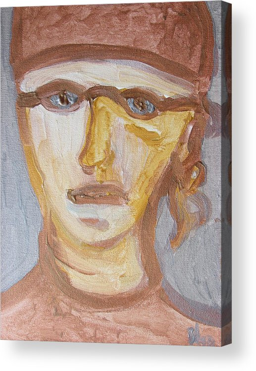 Face Acrylic Print featuring the painting Face Five by Shea Holliman