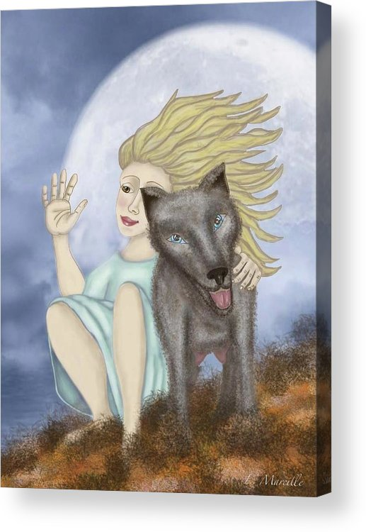 Full Moon Acrylic Print featuring the painting Farewell The Journey Begins by Linda Marcille
