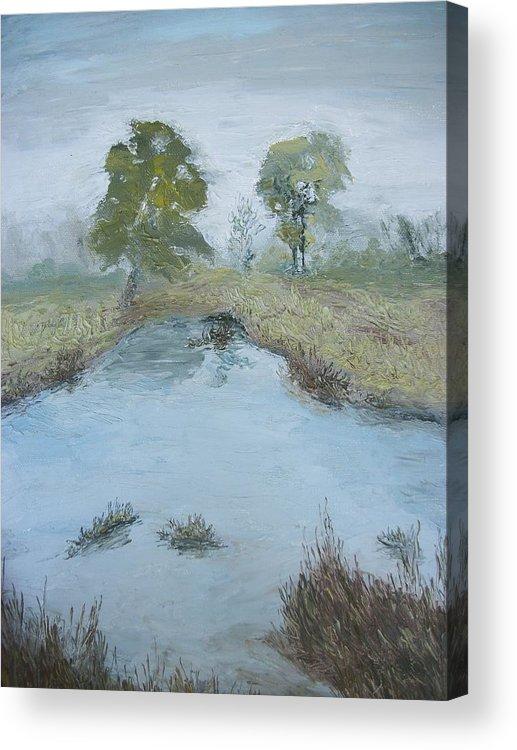 Pond Acrylic Print featuring the painting Farm Pond by Dwayne Gresham