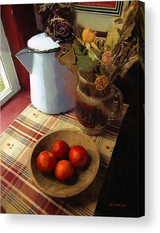 Still Life Acrylic Print featuring the painting Farmhouse Fruit And Flowers by RC DeWinter