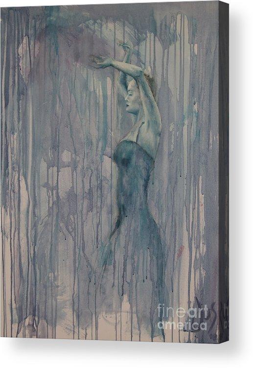 Dance Female Flamenco Sport Blue Purple Acrylic Print featuring the painting Flamenco 3 by Jos Van de Venne