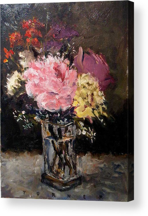 Still Life Acrylic Print featuring the painting Flowers In Vase by George Turner