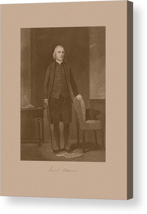 Samuel Adams Acrylic Print featuring the drawing Founding Father Samuel Adams by War Is Hell Store
