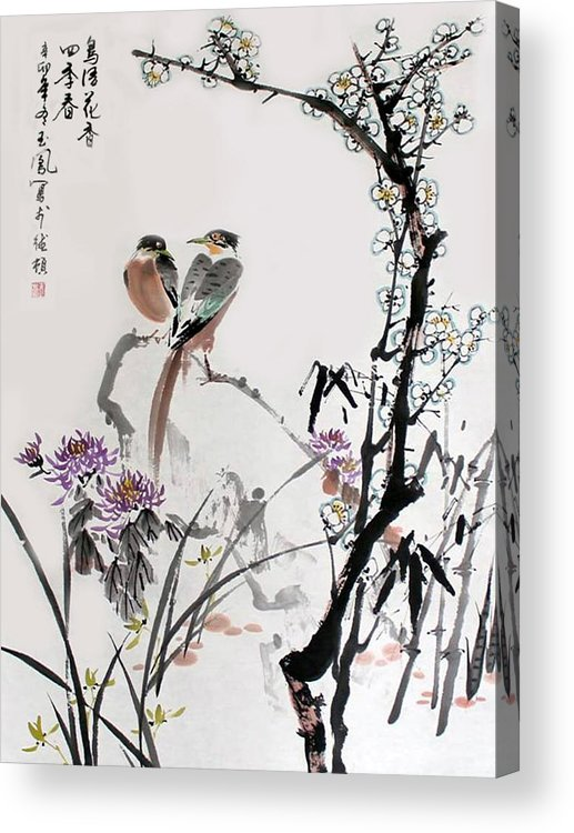 Chinese Brush Painting Acrylic Print featuring the photograph Four Seasons In Harmony by Yufeng Wang