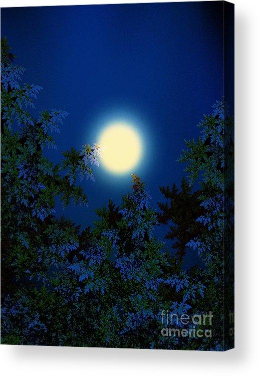 Full Moon Acrylic Print featuring the digital art Full Moon by Klara Acel
