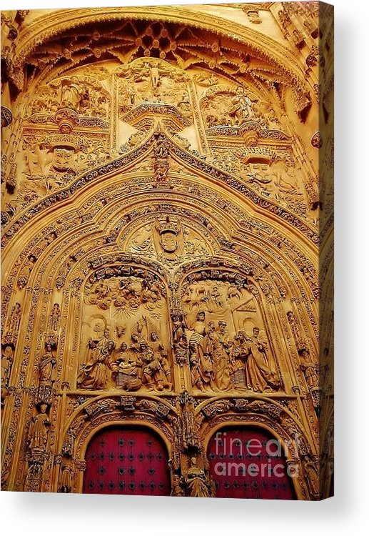 Art Acrylic Print featuring the photograph gate of Salamanca's Cathedral by Nana Garcia