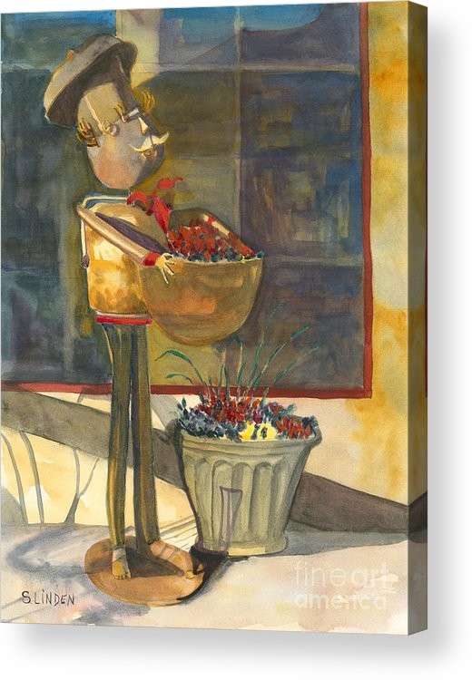 Brass Sculpture Acrylic Print featuring the painting Gere-a-delis Brass Chef by Sandy Linden