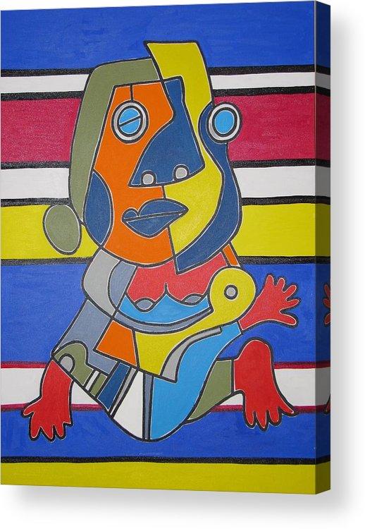 Modern Art Acrylic Print featuring the painting Gipsy Woman by Daniel Burtea