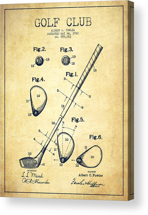 Golf Acrylic Print featuring the digital art Golf Club Patent Drawing From 1910 - Vintage by Aged Pixel