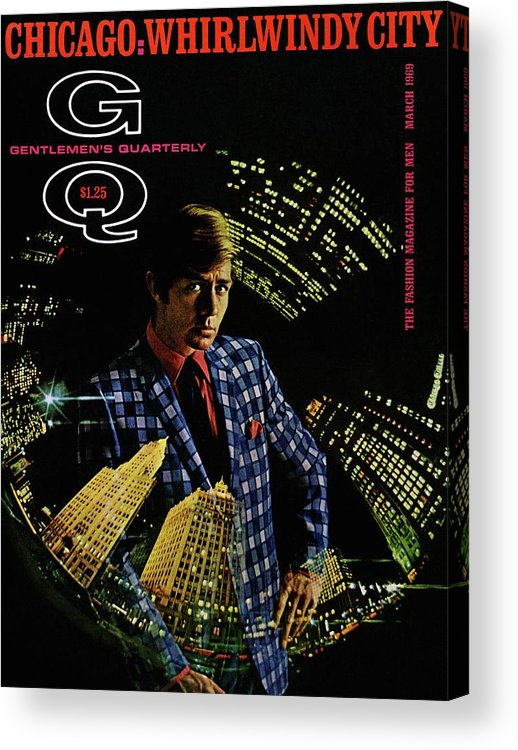 Fashion Acrylic Print featuring the photograph Gq Cover Of Model Wearing A Louis Roth Jacket by Leonard Nones