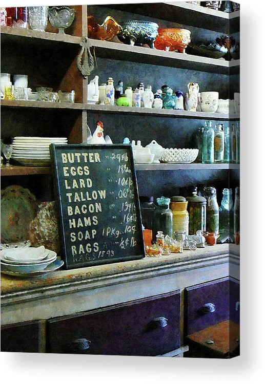 Store Acrylic Print featuring the photograph Groceries In General Store by Susan Savad