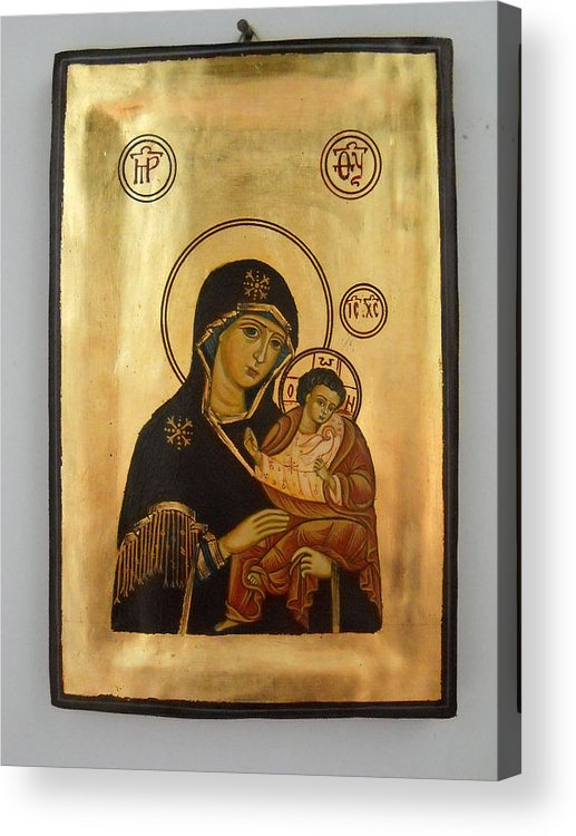 Religious Icons Acrylic Print featuring the painting Handpainted Orthodox Holy Icon Madonna With Child Jesus by Denise Clemenco
