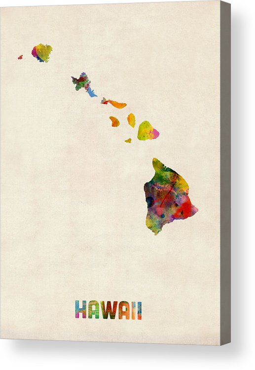 United States Map Acrylic Print featuring the digital art Hawaii Watercolor Map by Michael Tompsett