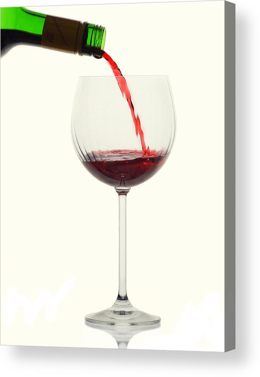 Red Acrylic Print featuring the photograph High Key Pour by Dennis James