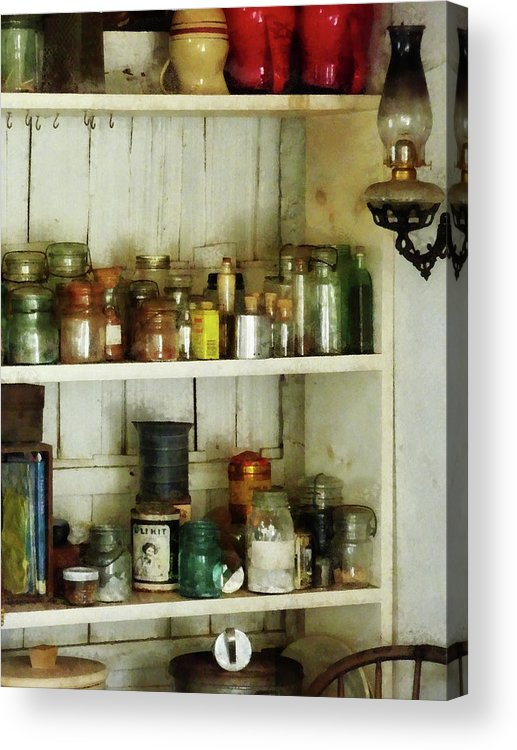 Pantry Acrylic Print featuring the photograph Hurricane Lamp In Pantry by Susan Savad