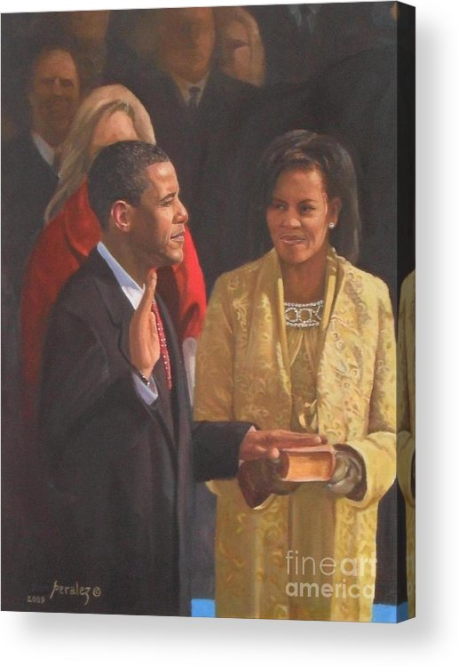Barack Obama Portraits Acrylic Print featuring the painting Inauguration Of Barack Obama by Noe Peralez