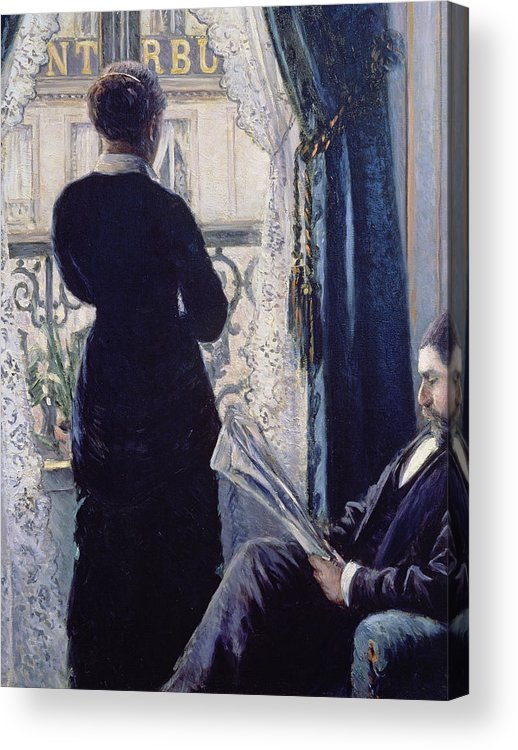 Female; Male; Seated; Reading; Newspaper; Lace Curtains; Parisian; Balcony; Staring; Domestic Scene; Daily Life; Bourgeoisie; Bourgeois; Boredom; Waiting; View Across A Balcony Acrylic Print featuring the painting Interior Woman At The Window by Gustave Caillebotte