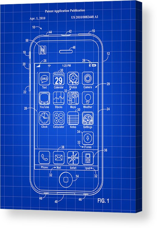 Iphone Acrylic Print featuring the digital art iPhone Patent - Blue by Stephen Younts