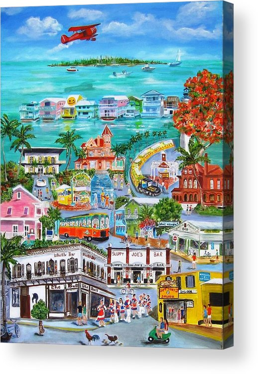 Key West Acrylic Print featuring the painting Island Daze by Linda Cabrera