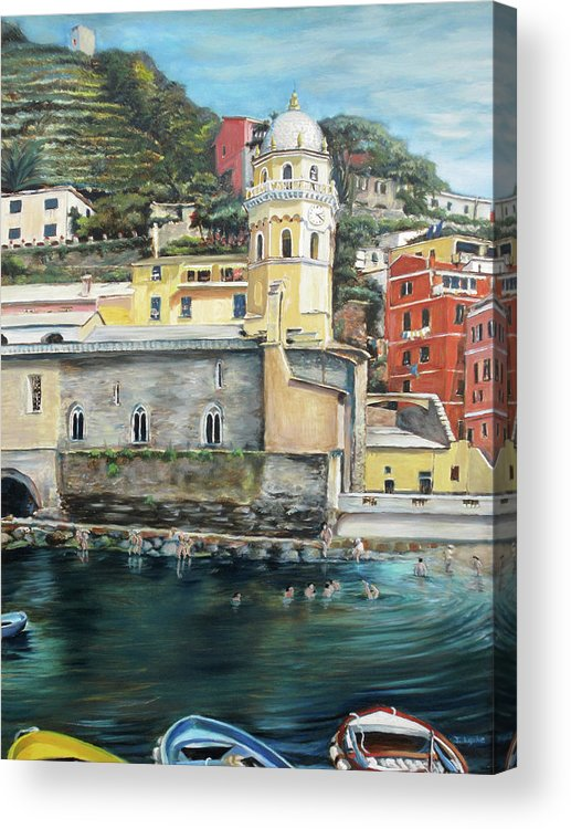 Cinque Terre Acrylic Print featuring the painting Italian Riviera - Cinque Terre Colors by Jennifer Lycke