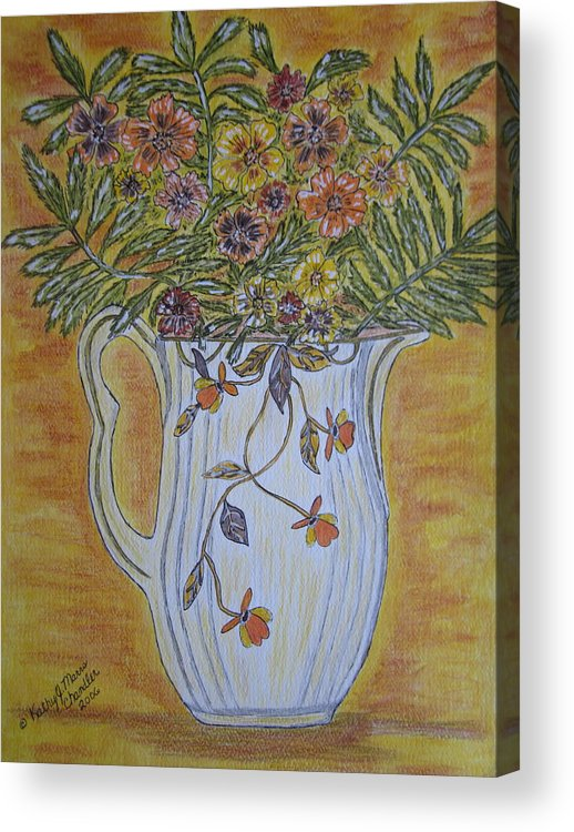 Jewel Tea Acrylic Print featuring the painting Jewel Tea Pitcher With Marigolds by Kathy Marrs Chandler