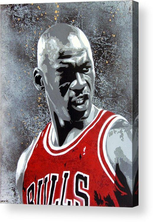 Michael Jordan Acrylic Print featuring the painting Jordan by Bobby Zeik