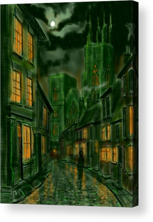 Ipad Acrylic Print featuring the painting Kirkgate And Bridlington Priory By Moonlight by Glenn Marshall