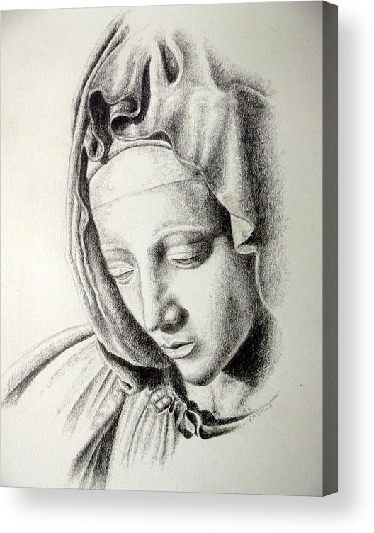 Religious Acrylic Print featuring the drawing La Pieta Madonna by Heather Calderon