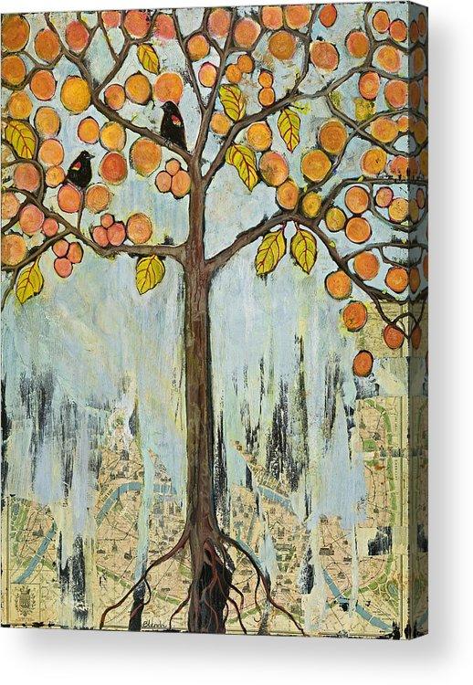 Paris Acrylic Print featuring the painting Love Birds In Paris by Blenda Studio