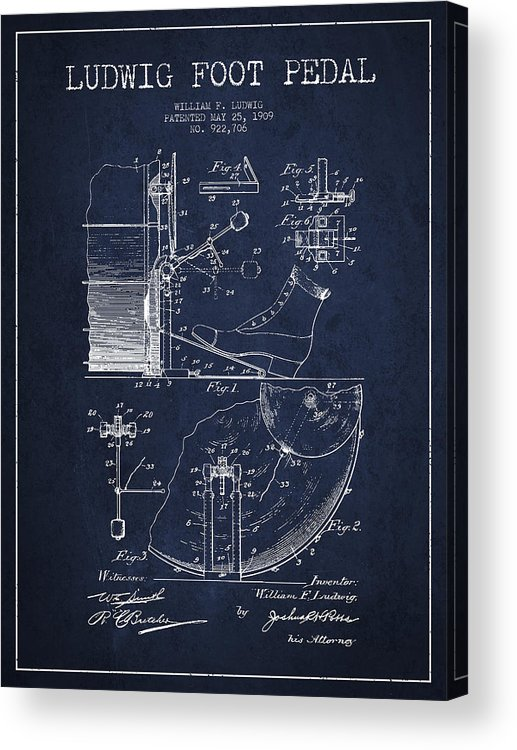 Foot Pedal Acrylic Print featuring the digital art Ludwig Foot Pedal Patent Drawing From 1909 - Navy Blue by Aged Pixel
