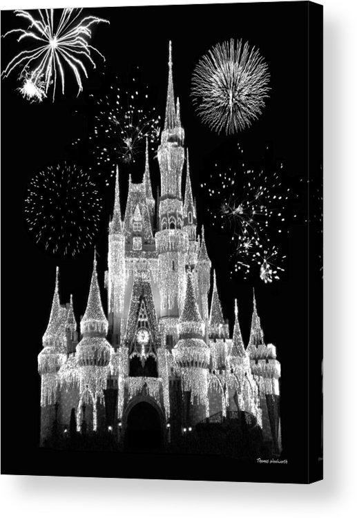 Magic Kingdom Castle In Black And White With Fireworks Walt Disney