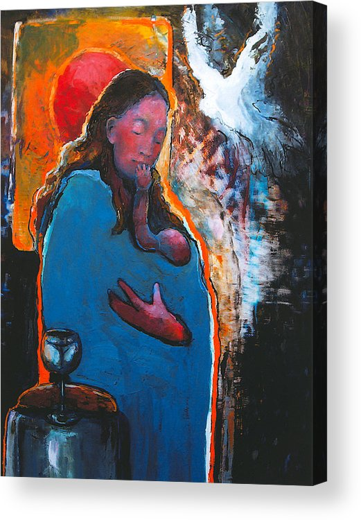Madonna Acrylic Print featuring the painting Mary's Pondering by Daniel Bonnell