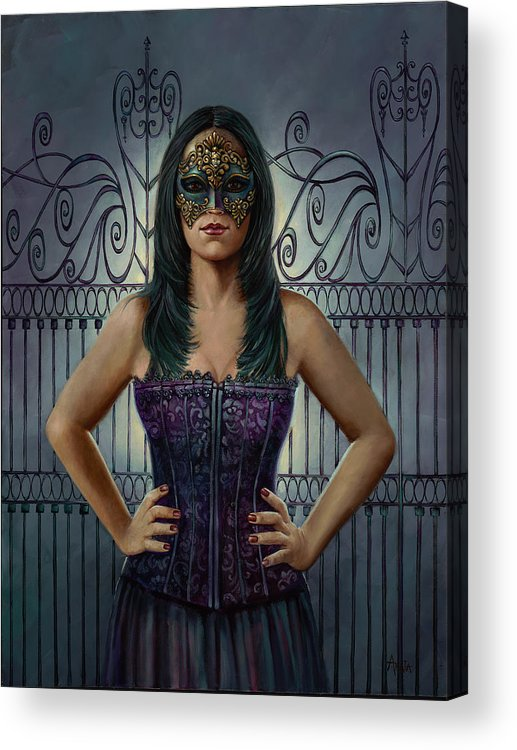 Mask Acrylic Print featuring the painting Masked Defiance by Geraldine Arata